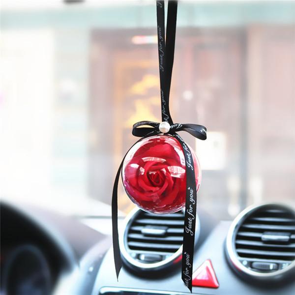 Автомобиль Подвеска Eternal Rose Цветочный бал RearView Зеркало висячие украшения Мыло Цветочный орнамент Подвеска Авто Accessoriess