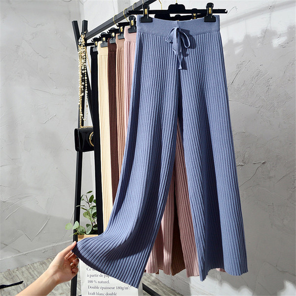 New Korean Section Fashion Women Trousers Autumn Winter Knitted Wide Leg Pants Elastic High Waist Female Casual Loose Pant S1267 Y190430