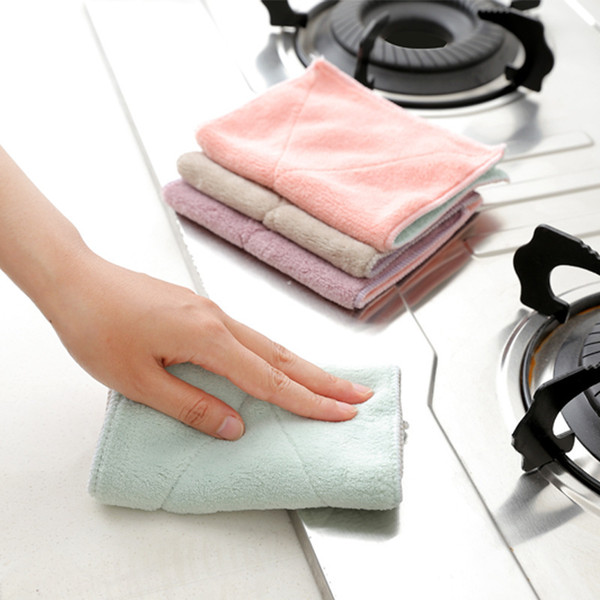 Fiber Two sided Water Uptake Dishcloth Thickening Hair Slip No With Oil A Piece Of Kitchen Wash The Dishes Cloth