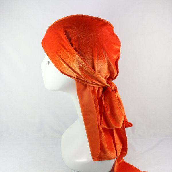 Hot Europe and America gold velvet long tail suture line luxury unisex headscarf hood cap pirate hat tiara headband pirate hat hair accessor