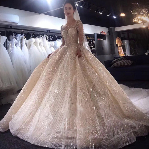 Super Luxury Scoop Princess Ball Gown Wedding Dresses Top Major Beading Bling Wedding Dresses Sheer Back Sequined Lace Wedding Gowns