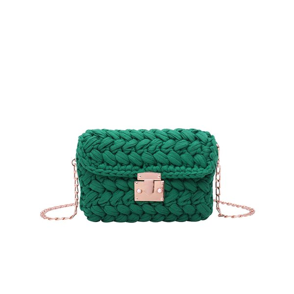 Handmade Weaving bag Fashion Buckle women Shoulder Bag Ladies chain Crossbody Mini Messenger Handbag 2019 Designer Flap