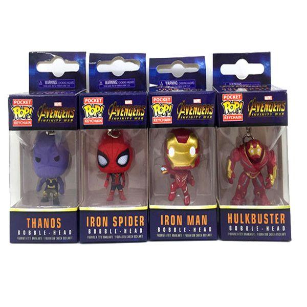 Funko pop Action Figures Marvel Avengers Keychain 4 POS Iron Man Anti Hulk Spider Man Vandal Model Pendant Pendant 1 pack = 10 pieces