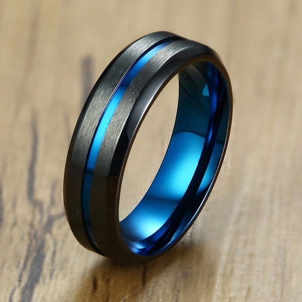6MM Mens Ring Black Brushed Stainless Steel with Blue IP Plated Groove Center Engagement Wedding Band Beveled Edge Male Jewelry