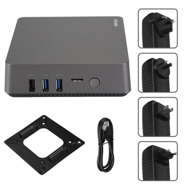 Mini PC Dual-band for Intel 4-Core J3455 4+64G Media Player HD 4K*2K 2.4/5GHz 100-240V OME KEY of High Quality