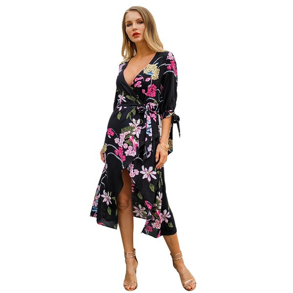 Suit-dress Heat Sell 2019 Spring Xia Xinkuan Printing In V Lead maxi Dress long sleeves casual woman dresses models for women Hot Sale New