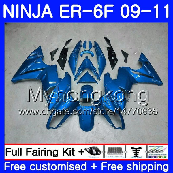 KAWASAKI NINJA 650R Için vücut ER-6F ninja650 ER6F 09 10 11 252HM.25 Ninja650R ER6 F ER 6F 2009 2010 2011 Fairings Kiti + 7Hediyelik Açık mavi tüm