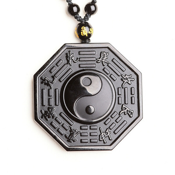 Natural Black Obsidian Necklace Pendant Lucky Amulet Chinese BAGUA Men Women Jewelry Fengshui Energy Stone Healing Reiki Gift