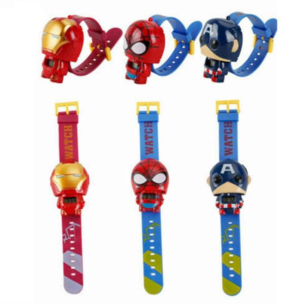 Niños vengadores Relojes Moda Boy Cartoon Spiderman Capitán América Película Relojes Fiesta para niños Los mejores regalos TTA1102