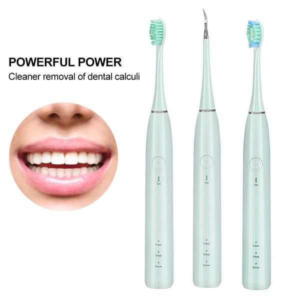 Elektro-Zahnstein-Entferner Tartar Scraper Tartar Reinigung für Zahnreinigung mit 2 Reinigen Tipps 3 Sorten mit LED-Licht USB