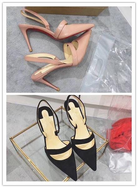 donne si vestono scarpe di alta qualità 2017 pattini delle donne Red Bottoms Tacchi alti punta aguzza sexy rosso Sole donne s dimensioni 35-39 tacco alto 8 centimetri