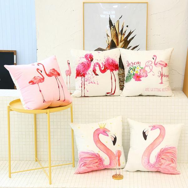 Flamingo Kissenbezüge Leinen Dekokissen Fall Palm Leaf Dekorative Kissenbezug Auto Sofa Home Decor 40 Designs YW1640