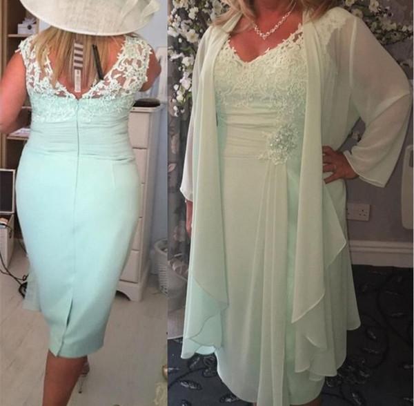 Chiffon Menta Verde V Pescoço Coluna Curto Mãe dos Vestidos de Noiva com o Envoltório Plus Size Jaqueta Casual Lace Tea Comprimento Evening Vestidos