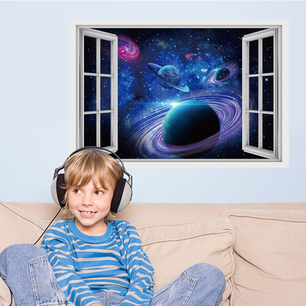 Blue Planet Wall Stickers 3D DIY Decor Murals Poster Removable PVC Wall Art Painting for Boys Girls Bedroom