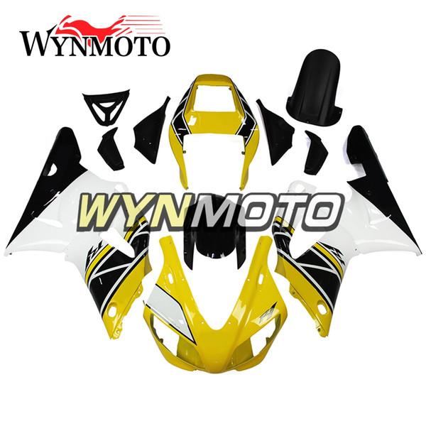 Carénages de moulage par injection pour Yamaha YZF1000 R1 1998 1999 Cadres de carrosserie de vélo complets R1 98 99 après-vente moto OEM blanc coque jaune