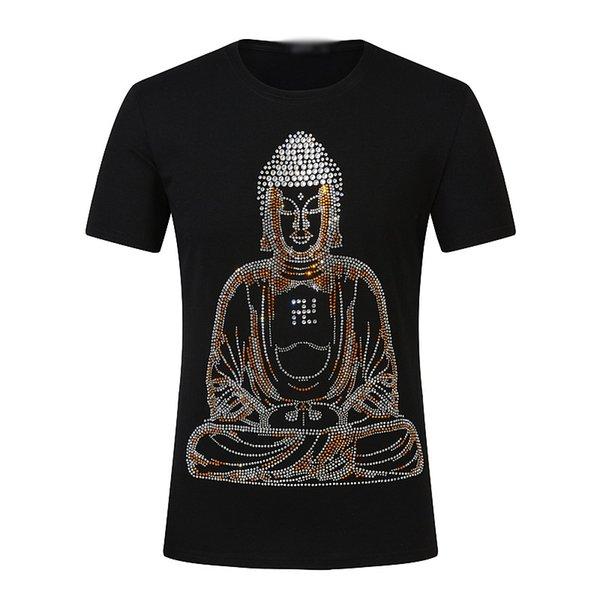 Summer Designer T Shirts Mens Tops Shining Diamond Rhinestone Embroidery T Shirt Mens Clothing Brand Short Sleeve Tshirt Tops For Men
