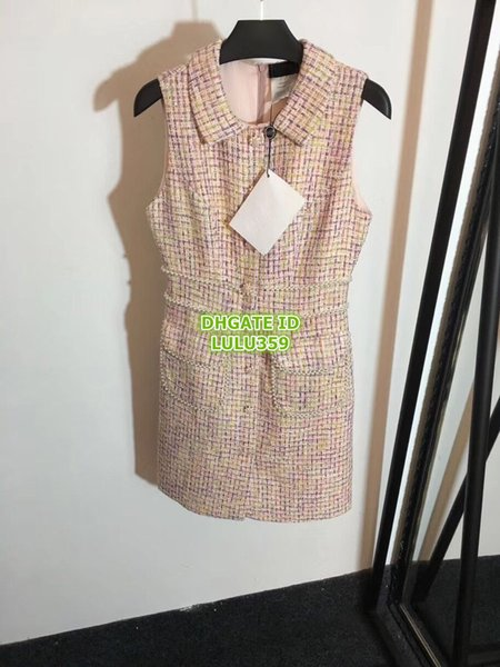 Women Brand Tweed Runway Dresses With Pearls Lapel Neck The Top Quality Dress Mini Casual Brand Shirt Empire Party Dress