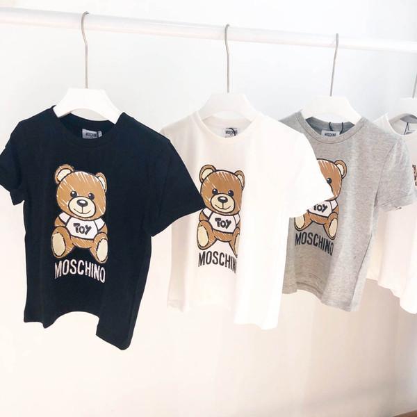 Crianças Designer de T Camisa de Luxo Meninos Padrão de Urso Mangas Curtas Meninas Marca Carta Impresso Top Tees 2019 Roupa Dos Miúdos Heygeorge Vestuário