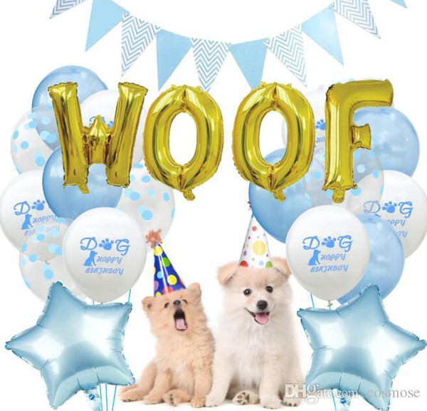 Happy Birthday Latex Balloon Set for Pet Puppy Dog Birthday Party Decoration Garland Banner Letter Woof