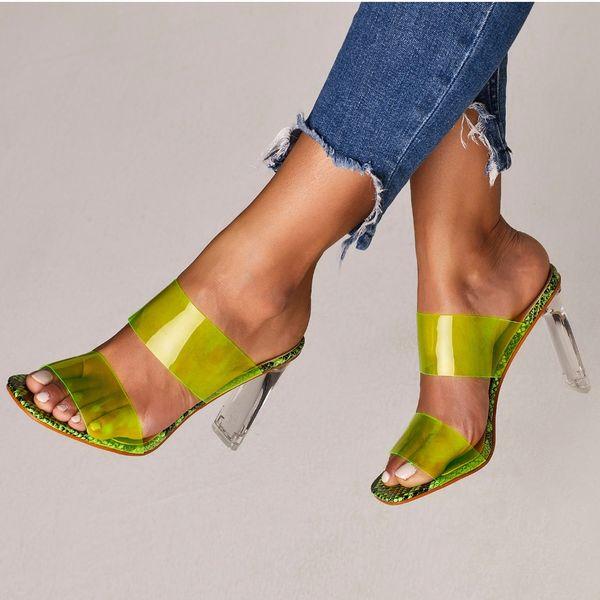 2019 Sandales En Serpent En Cristal À Bout Ouvert PVC Haut Talons Femmes Transparent Talon Sandales Pantoufles Escarpins 11 CM Grand Taille 41 42