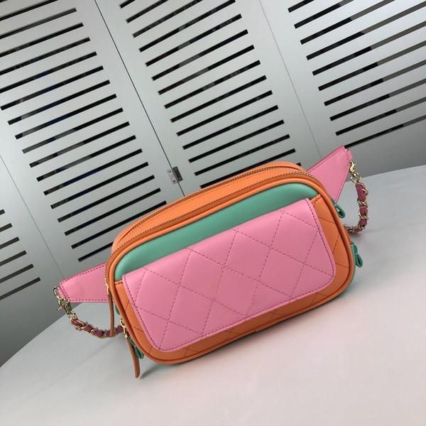 Tricolore épissure orange rose vert véritable cuir dames taille sacs belle cross body sac de haute qualité pour les femmes parti sacs de sport occasionnels