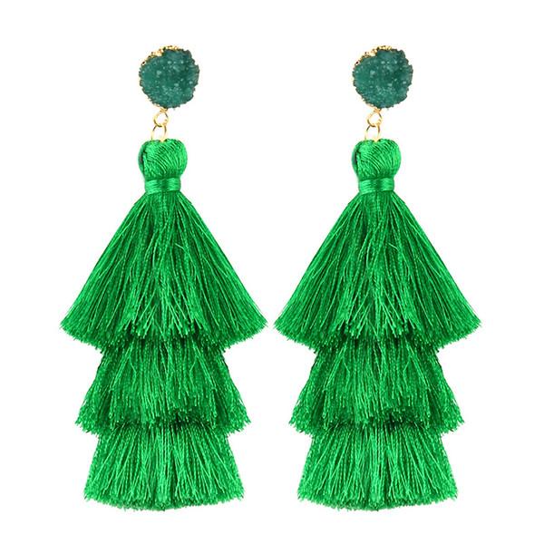 2019 New 18 Models Three Layer Tricolor Long Tassel Stud Earring Simple Temperament Gem Eardrop Fringe Earrings Women Jewelry Accessories