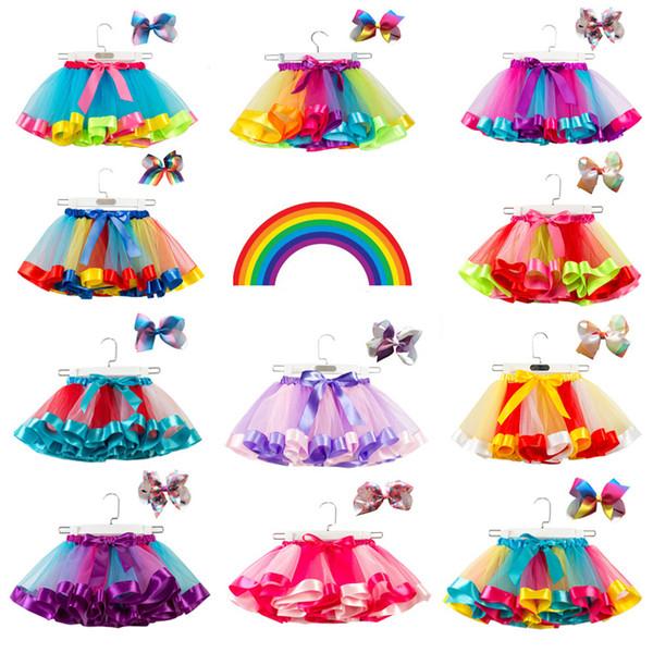 Niños Rainbow TUTU Falda 11+ Ruffle Fluffy Pettiskirts Faldas de malla para niñas Bailarina para bebés Faldas casuales de color caramelo Ropa para niños Desinger 2-11T