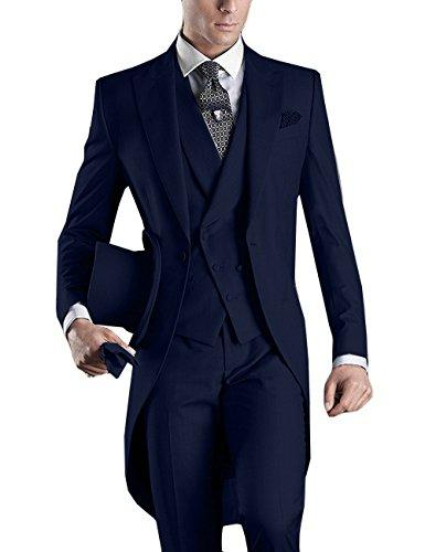 Navy blue Wedding Tuxedos Slim Fit Suits For Men Groomsmen Suit Three Pieces Cheap Prom Formal Suits (Jacket +Pants+Vest+Tie)NO:955