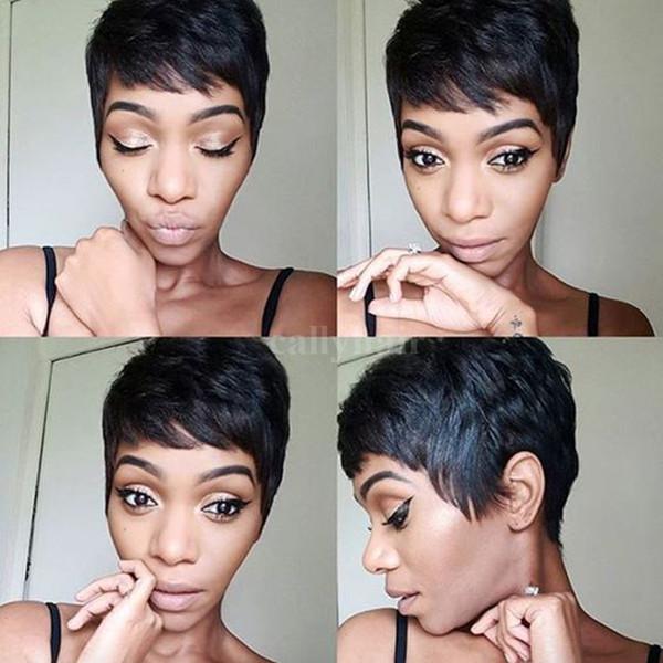 Burmese Hair Short Layered Wavy Straight Human Hair Wigs For Black Women Pixie Cute Cut Glueless Natural Hair Wigs