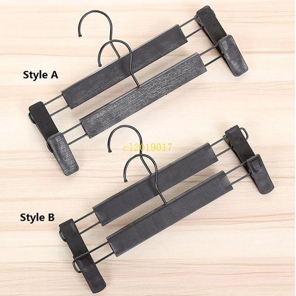 100pcs Plastic Black Hanger For Lingerie Underwear Anti-skidding Clothing Pants Skirt Clip Hangers Rack