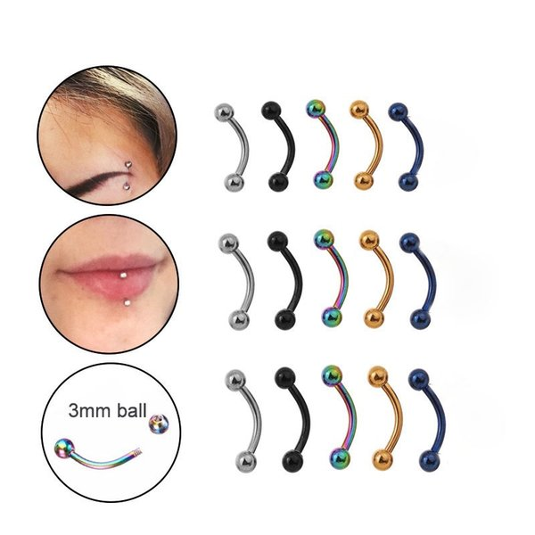 Pinksee 5pcs/lot 6/8/10mm 16G Surgical Steel 3mm Ball Eyebrow Piercing Curved Barbell Lip Ring Snug Daith Helix Rook Earring
