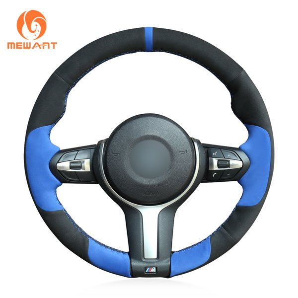MEWANT Black Blue Suede Hand Sewn Steering Wheel Cover for BMW F87 M2 F80 M3 F82 M4 M5 F12 F13 M6 F85 X5 M F86 X6 M F33 F30 M