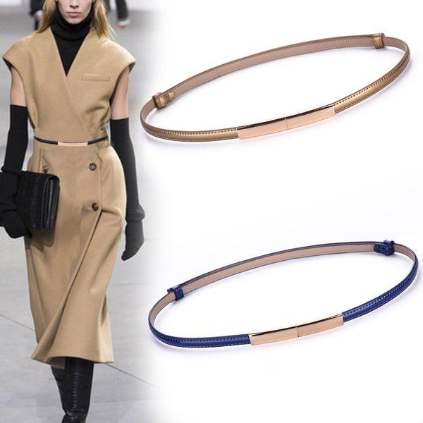 2019 New Women Dress Strap Fashion Skinny Genuine Leather Belts Adjustable Narrow Waist Belt Gold Buckle Ladies Elegant Waistband