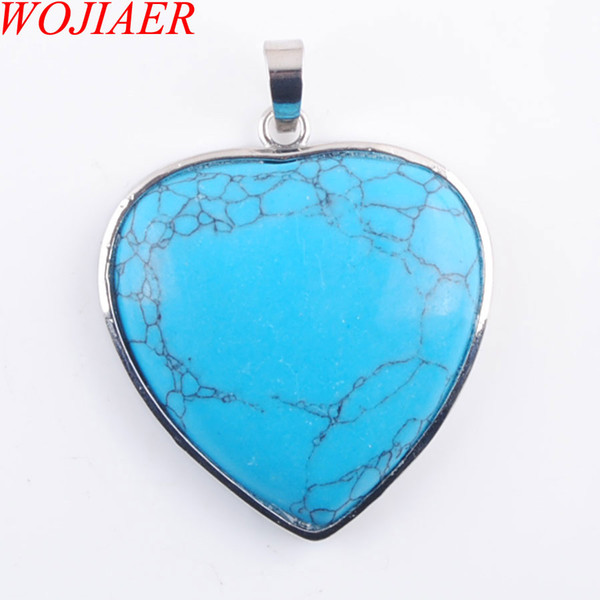 WOJIAER Simple Heart Design Natural Jewelry Blue Turquoise Gem Stone Pendant Necklace Female Best Valentine's Day Gift DN3207
