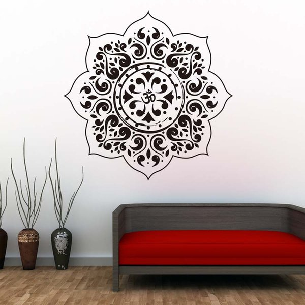 1 Pcs Indian Mandalas Flower Pattern Yoga Wall Decals Vinyl Art Wall Stickers For Bedroom Living Room Home Decor