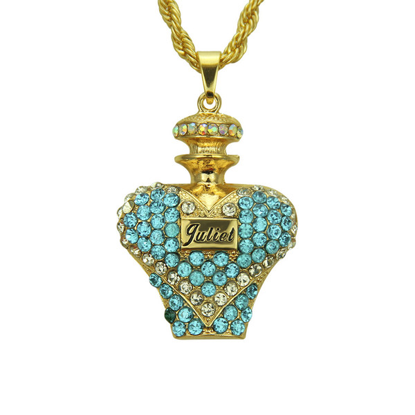 Perfume bottle Necklace Crystal Zircon Hip Hop Jewelry With Chain Necklaces Punk Rock Exaggerated Jewelry Gift