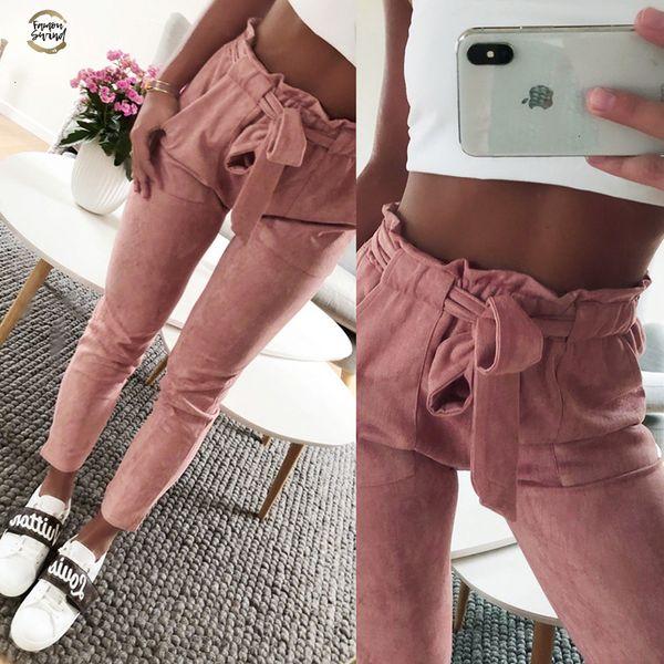 Yeni Stil 2019 Moda Kadın Süet Pantolon Bayan Deri Bottoms Kadın Pantolon Casual Kırmızı Şarap Kalem Pantolon Yüksek Bel Pantolon