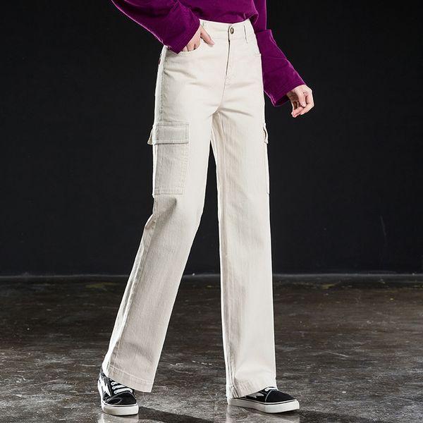 Shange women cargo pants new lady wide leg denim long pants free shipping