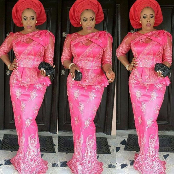 Estilos Lace Fuchsia nigeriano longo sereia Vestidos nigeriano Aso-ebi Maxi Vestido Top Popular Ore-Iyawo Plus Size Africano Vestido