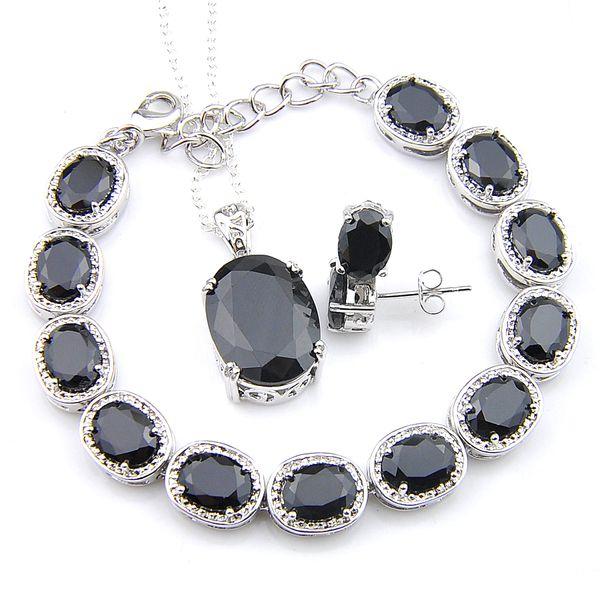Halloween Gift Stud Earrings Pendants Bracelet 3Pcs Jewelry Sets Oval Black Onyx 925 Silver Necklaces Sets Fashion For Women Jewelry