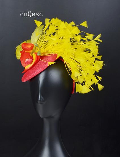 2019 rouge jaune sinamay plume fascinateur chapeau de mariée en soie fleur bandeau pour bal fête des mères courses kentucky derby