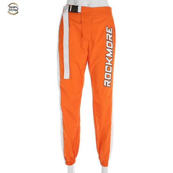 Pantalon patchwork Crayon Casual taille haute Boucle Pantalon ceinture orange femmes Zipper Pocket Sweatpants et joggeurs Fitness