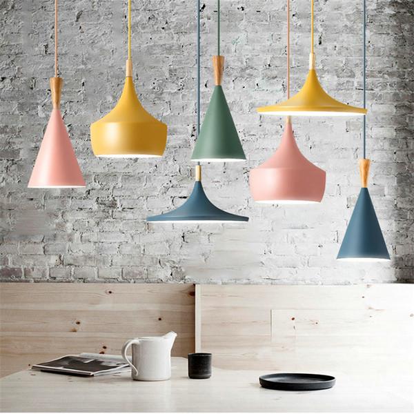 Artpad Moderno Colgante Nórdico Luz de Hierro Pantalla de Madera LED Lámpara Colgante para Comedor Hotel Dormitorio Cocina Accesorios de Iluminación