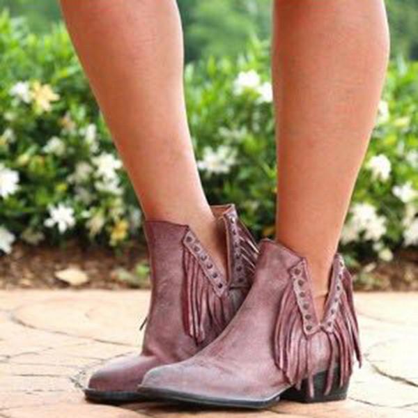 Litthing Mode Nation chinoise Style de Flock cuir femmes Fringe Talons plates Tassel Bottes femme Bottines Pointu Toe