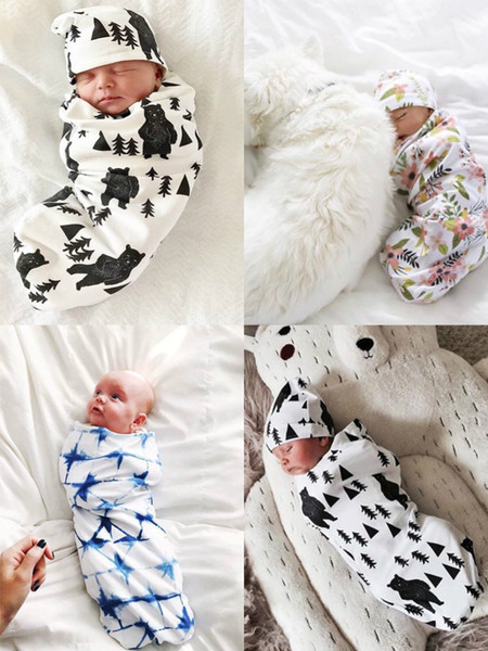 best selling 2019 Newborn Baby Swaddle Baby Blanket+Hat swaddle with a beanie Soft Cotton Sleep Sack Two Piece Set Sleeping Bag 11colors