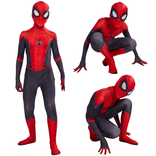 2019 Çocuklar Örümcek Adam Uzak Evden Peter Parker Cosplay Kostüm Zentai Spiderman Superhero Bodysuit Takım Tulumlar C31