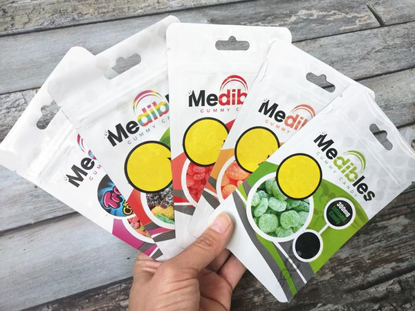 best selling Medibles mylar smell proof zipper bag plastic airtight edibles gummies food packaging pouch 6 styles dhl fast shipping vs cookies