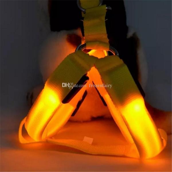 Collier en nylon d'animal familier de LED pour le gros chien de chat a mené le harnais de ceinture de chiot de ceinture de chiot de lumière de lueur légère laisse la corde de collier de sécurité de grande taille bb144-151 2018