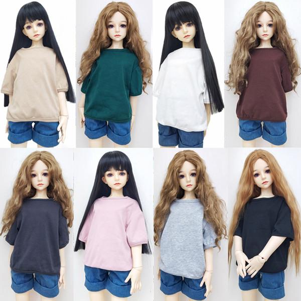 Cotton Half Sleeve T-shirt Doll Accessories Fashion1/3 1/4 1/6 BJD Doll Casual Wear T-Shirts Handmade Dolls Clothes Girls Toys