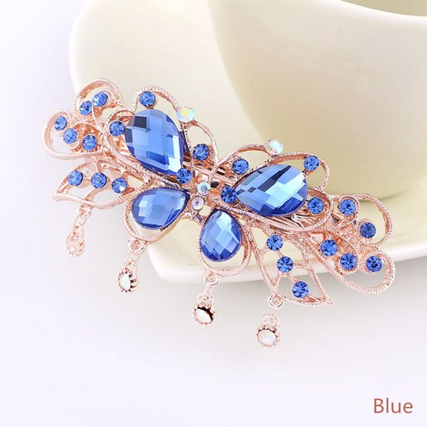 1 PC Trendy Butterfly Crystal Hair Clips Flower Rhinestone Hand Made Women Barrettes Lady Hairgrip Hairpins Hair Accessories New
